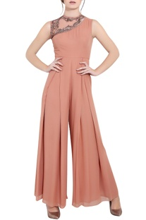 Blush pink georgette sequin & ari technique box pleat jumpsuit