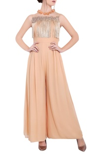 Blush peach georgette pipe work & ari technique long jumpsuit with tassels work