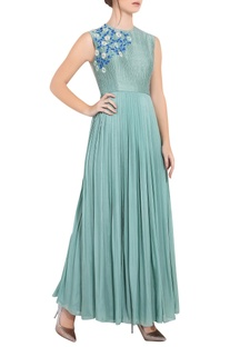 Blue flat chiffon thread work & machine work long pleated gown