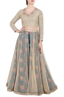 Golden & blue soft net thread work & zardozi work anarkali with separate skirt