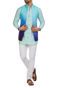 Raw silk nehru jacket with kurta & pants