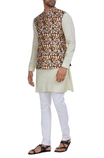 Raw silk multicolored nehru jacket with kurta & pants