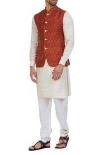 Raw silk jacket with cotton silk kurta & pants