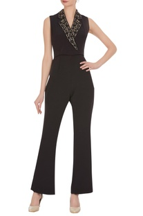 Embroidered collar jumpsuit