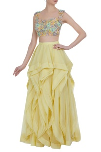 Frilly layered lehenga with flower motif blouse