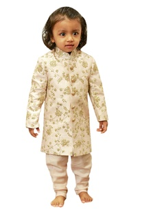 Embroidered sherwani with sequence highlights.