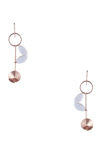 Long earrings with dangling pearl accents