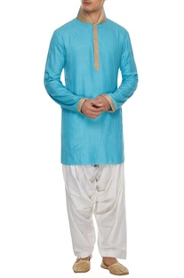 Blue handcrafted kurta with white patiala pants