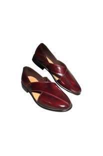 Cherry leather handcrafted peshawar shoes