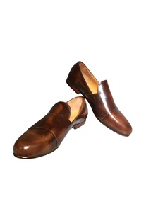 Brown leather handcrafted h-monk shoes