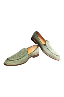 Green suede leather loafers