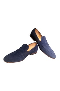 Sky blue suede penny loafers