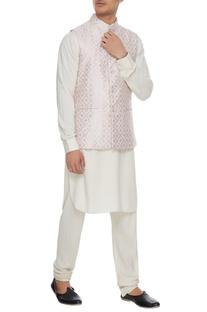 Powder pink chanderi banarasi & silk blend nehru jacket with kurta & churidar