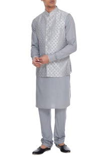 Powder blue chanderi banarasi & silk blend nehru jacket with kurta & churidar