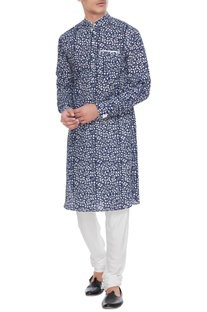 Blue & white printed cotton kurta with pants