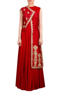 Red raw silk asymmetric tassel jacket with inner long kurta