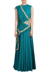 Teal raw silk asymmetric jacket with inner chiffon maxi kurta