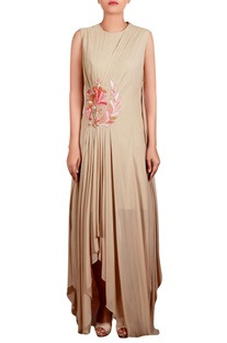 Beige georgette hand embroidered long draped tunic