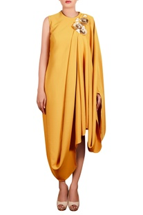 Mustard yellow moss crepe hand embroidered long draped tunic