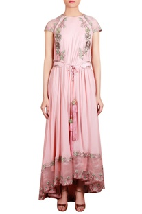 Pink georgette & organza machine & hand embroidered flared tunic