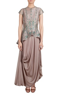 Grey draped tunic with thread embroidered organza jacket