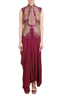 Wine draped tunic with thread embroidered organza jacket