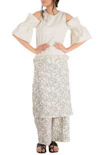 Ivory khadi star motif embroidered overlay blouse