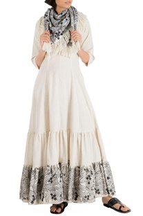 Ivory khadi maxi dress with embroidered hemline