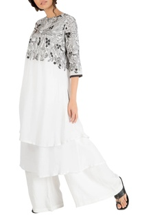 White double layer embroidered yoke tunic with pants