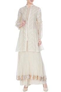 White chanderi pearl & thread embroidered jacket set