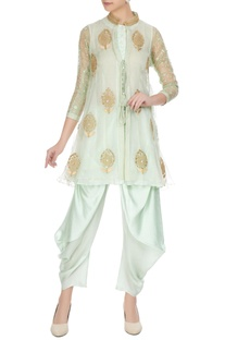 Sea green organza front open jacket with inner & dhoti pants
