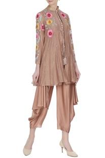 Brown chanderi floral embroidered jacket set