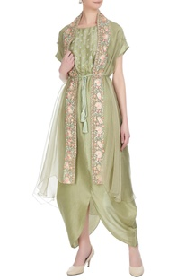 Green hand embroidered jacket with silk jumpsuit
