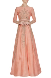 Peach tussar silk hand zardozi embroidered anarkali with belt