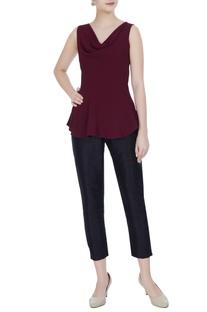 Maroon cowl neckline sleeveless moss georgette peplum blouse