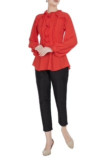 Red moss georgette frilled blouse