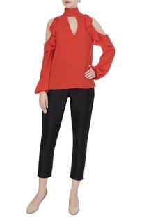 Orange moss georgette cold-shoulder blouse