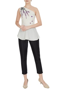 White one-shoulder peplum moss georgette blouse
