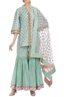 Flared sleeves kurta with lehriya border sharara set.