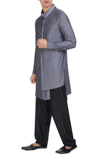 Smoke grey cotton high collar kurta