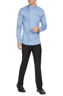 Sky blue cotton-linen zipper detail shirt