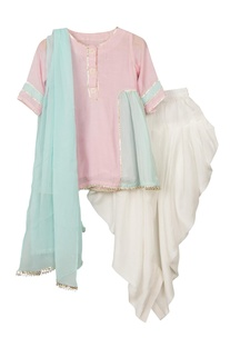 Pink & blue anarkali kurta with elastic band patiala & dupatta