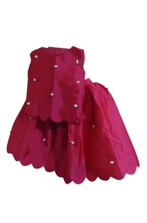 Dark pink taffeta silk flared skirt with blouse