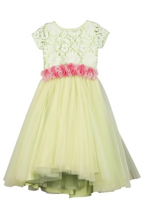 Sea-green lace & cancan flower-girl gown