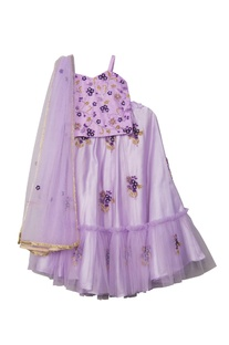 Purple net & satin floral hand embroidered lehenga set