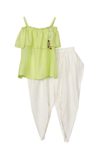 Green bardot blouse with tulip pants