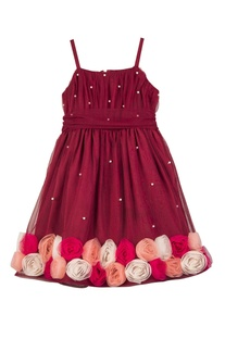 Maroon net & butter crepe hand embroidered floral dress