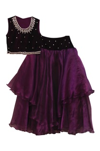 Purple tissue lehenga with choli blouse & dupatta