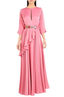 Draped layered maxi dress with embroidered belt