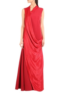 Satin & crepe exaggerated collar gown